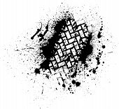 image of skid  - White tire track on black ink blots - JPG