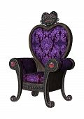 stock photo of throne  - 3D digital render of a purple fairytale throne isolated on white background - JPG