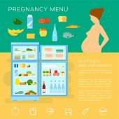 image of pregnancy  - Pregnancy Menu Food Flat Style Vector Infographic Elements or Icons With Refrigerator - JPG