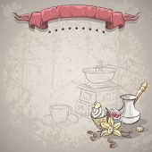 stock photo of vanilla  - Illustration background with coffee beans Turku vanilla cake fruit cake and vanilla flower - JPG