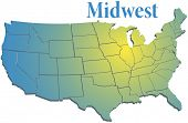 picture of spotlight  - Sunny spotlight shines on midwest map of states in US Midwestern region - JPG