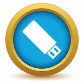 stock photo of memory stick  - Gold usb stick icon on a white background - JPG