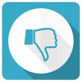 stock photo of dislike  - dislike blue flat icon thumb down sign  - JPG