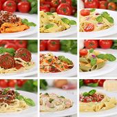 picture of noodles  - Italian cuisine collection of spaghetti pasta noodles food penne meals with tomatoes and basil - JPG
