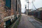 image of illinois  - An alley in Joliet, Illinois, showing a bit of urban decay