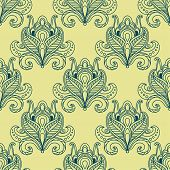 pic of yellow buds  - Vintage flourish seamless pattern in persian style with outline blue dense flower buds decorated with ethnic paisley ornaments on yellow background - JPG