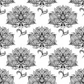 picture of embellish  - Black and white indian stylized floral seamless pattern background decorated with ethnic paisley ornaments - JPG