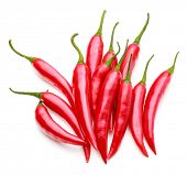 picture of cayenne pepper  - red chili or chilli cayenne pepper isolated on white  background cutout - JPG