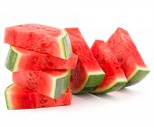 foto of watermelon slices  - Sliced ripe watermelon isolated on white background cutout - JPG
