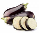 stock photo of aubergines  - Eggplant or aubergine vegetable isolated on white background cutout - JPG
