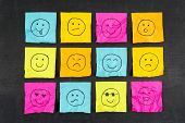 image of emoticons  - Hand drawn crumpled sticky note emoticons smiley faces - JPG