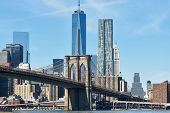 stock photo of brooklyn bridge  - Brooklyn Bridge with lower Manhattan skyline in New York City - JPG