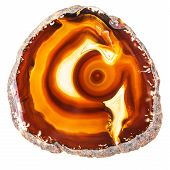 image of agate  - Thin slice of agate geodes with concentric layers isolated over a white background