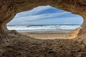 picture of cave  - Cave by the beach at Fort Funston - JPG