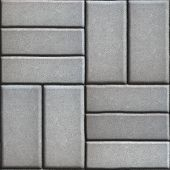 foto of paving  - Gray Pave Slabs Rectangles Arranged Perpendicular to Each other Two or Three Pieces - JPG