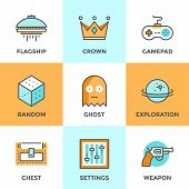 ������, ������: Computer Gaming Line Icons Set