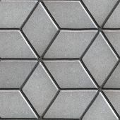 picture of slab  - Gray Paving Slabs Laid Flower of Rhombuses - JPG