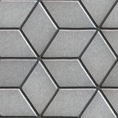 image of paving  - Gray Paving Slabs Laid Flower of Rhombuses - JPG