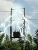 stock photo of electricity  - Photo of a junction box with electricity effects added - JPG