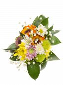 picture of chrysanthemum  - delicate yellow orange pink chrysanthemum flowers with green leaves and stems in a bright beautiful bouquet on a white background top view - JPG