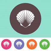 picture of scallops  - Single vector scallop icon on round colorful buttons - JPG