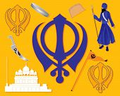 stock photo of sikh  - an illustration of elements from sikh history with gurdwara khalsa sikh military emblem flag bracelet comb and kirpan on a saffron background - JPG