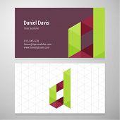 foto of letter d  - Modern letter D origami Business card template - JPG