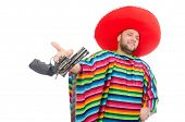 pic of pistols  - Funny mexican holding pistol isolated on white - JPG