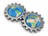 stock photo of snatch  - Gears with America and Europe - JPG