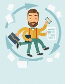 picture of multitasking  - A multitasking job is a man with many hands with successful planning elements - JPG