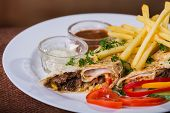 picture of shawarma  - Dish in white plate with Shawarma  - JPG