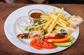 pic of shawarma  - Dish in white plate with Shawarma  - JPG