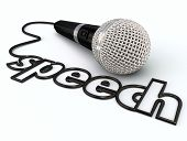 pic of public speaking  - Speech word in a microphone cord to illustrate public speaking or giving a presentation to an audience or crowd of people - JPG