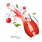 picture of pitcher  - Falling down pitcher of cranberry beverage - JPG