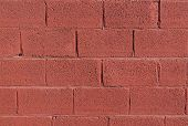 stock photo of solids  - solid red wall of large bricks background - JPG