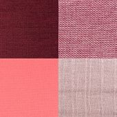 stock photo of lint  - Set of pink fabric samples texture background - JPG