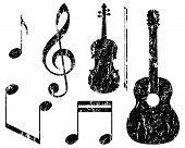 picture of violin  - grunge music elements - JPG