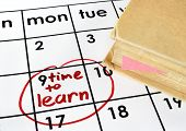 stock photo of time study  - Calendar with time to learn and book - JPG