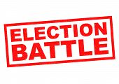 pic of battle  - ELECTION BATTLE red Rubber Stamp over a white background - JPG