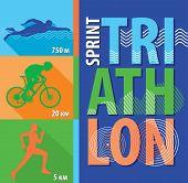 image of triathlon  - Vector illustration triathlon - JPG