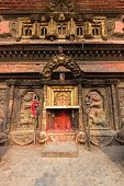 stock photo of three tier  - One of the many small shrines dedicated to the Mother Goddess in Bhaktapur - JPG