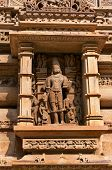 picture of stone sculpture  - Stone carved sculpture of god Male Deity on Lakshmana temple - JPG