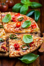 pic of jalapeno  - Tradition spanish pizza with chili and jalapenos - JPG