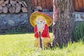 foto of gnome  - Garden gnome in an autumn garden in the grass - JPG