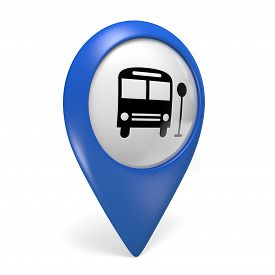stock photo of transportation icons  - Blue public transport search finder icon with a bus symbol - JPG