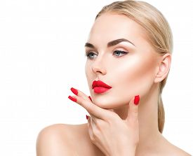 picture of lipstick  - Beautiful fashion model girl with blond hair - JPG