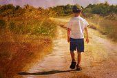 image of sad boy  - Child on the road - JPG