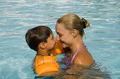 image of family vacations  - son and mom swim and play in the pool - JPG