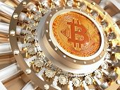 concept of bitcoin crypto currency safe 3d rendering image poster