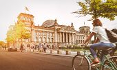 Berlin City Life With Reichstag At Sunset In Summer poster